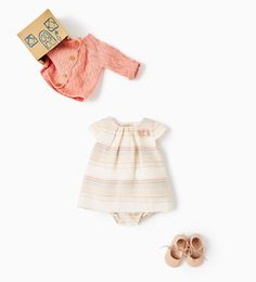 Knit cardigan, sundress, leather ballerina crib shoes from Zara. Baby girls 0-12 month sizes.