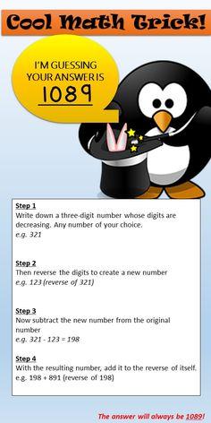 A good way to pracrice using the columns, holes on left etc. Math Magic Tricks, Cool Math Tricks, Maths Tricks, Math Tips, Easy Tricks, 8th Grade Math, Math Class, Math Math, Kids Math