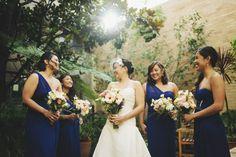 Blue bridesmaids dresses - Frank and Angelica - Berkeley City Club Wedding by Matthew Morgan Photography