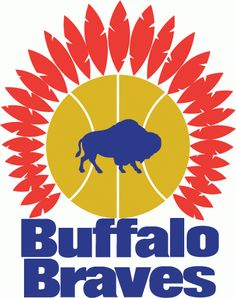 NBA Buffalo Braves Primary Logo (1971) - Blue Buffalo on a basketball topped with feathers over script
