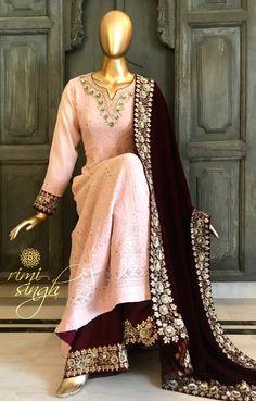 34 Ideas Sewing Baby Stuff Children For 2019 Pakistani Fashion Casual, Pakistani Dress Design, Pakistani Outfits, Indian Outfits, Indian Fashion, Embroidery Suits, Hand Embroidery, Embroidery Designs, Indian Designer Suits