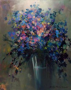 Catawiki online auction house: Andrzej Gudanski - A blue bunch Auction, Canvas, Creative, Blue, Painting, Art, Tela, Art Background, Painting Art