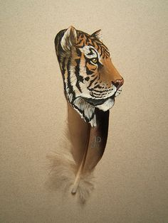 Tiger painted on feather