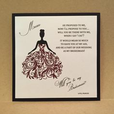 Custom Will You Be My Maid of Honor Cards / Bridesmaid Flower Girl Personalized Card Invite Bridesmaid Proposal {Dress 2 - Maroon Red} by MrsCasesShop on Etsy https://www.etsy.com/listing/261796113/custom-will-you-be-my-maid-of-honor