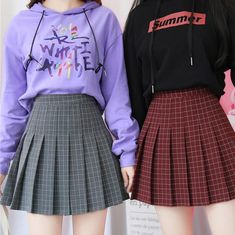 HIGH WAIST COLORFUL PLAID WITH SHORTS SCHOOL SKIRT Twin Outfits, Mode Outfits, Girl Outfits, Fashion Outfits, School Skirt Outfits, School Skirts, Church Outfits, School Fashion, Girl Fashion