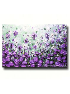 "ORIGINAL Art Abstract Painting Lavender Flowers Mint Green Purple Poppies Textured Large Wall Decor READY to SHIP 24x36"" Christine"