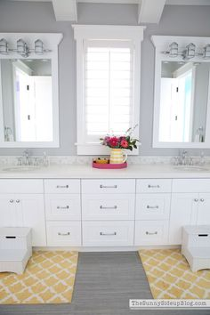 Girl's Bathroom with drawers and great storage! Like the floor tile and cheery pottery-barn-marlow-bath-rugs. Decor, Girls Bathroom, Grey Walls, Grey Paint, Bathroom Paint Colors, Home Decor, Girl Bathroom Decor, Bathroom Decor, Painting Bathroom