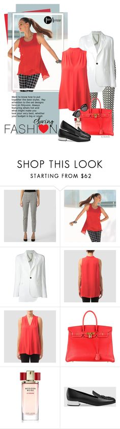 """""""Spring Day to Night"""" by beebeely-look ❤ liked on Polyvore featuring Joseph Ribkoff, COSTUME NATIONAL, Hermès, Estée Lauder, Gucci, Yves Saint Laurent, country, StreetStyle, daytoevening and premiereavenue"""