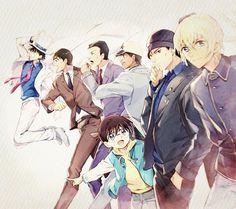 Awesome lineup of some of the guys from Detective Conan.    Left to right, there's Kaito Kid, Wataru Takagi, Kogoro Mouri, Heiji Hattori, Conan Edogawa just below him, then Shuichi Akai and Tooru Amuro/Bourbon/Zero.  Great artwork!