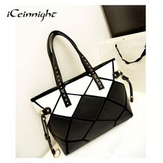 iCeinnight 2017 New High Quality Patchwork Square Handbag PU leather Shoulder Bag Large Women Fashion Totes black white leopard #Affiliate