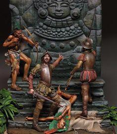 Сonquistadors by SergeyPopovichenko · Putty&Paint Conquistador, Aztec Statues, Aztecas Art, Mexican Artwork, Mayan History, Aztec Empire, Aztec Culture, Aztec Warrior, Age Of Empires