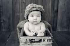 Baby Photos by Jo Frances Wellington, Award Winning Photographer - Photo of a cute baby in a vintage set-up, by Jo Frances