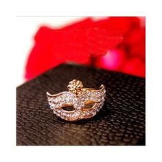 Stunning Style Rhinestone Mask Shape Ring For Women (1.45 BAM) via Polyvore featuring jewelry, rings, rhinestone jewelry and rhinestone rings