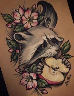 This is just soooo cute ugh, beautiful tatt Más Tattoo Sketches, Tattoo Drawings, Body Art Tattoos, Cool Tattoos, Tattoo Ink, Tatoos, Squirrel Tattoo, Raccoon Tattoo, Herbst Tattoo