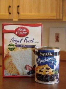 2 ingredient cake  M  2 ingredient cake  Mix together, 1 Angel Food cake mix (dry) and 1, 20 or 22 ounce can of fruit pie filling. That's it!  Bake in an ungreased  9x13 pan at 350 for 28-30 minutes.  It will puff up.