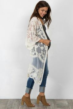 Loving this all lace kimono with jeans and booties! xo #kimono