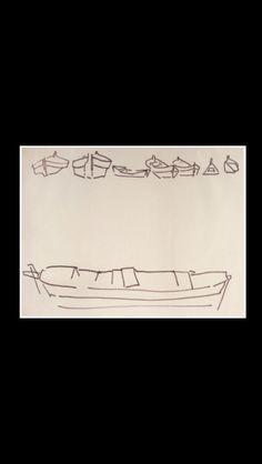 """Nicolas De Staël - """" Marine avec chaland (Barques aux Martigues, Bateaux en Méditerranée) """", 1953/1954 - Feutre sur papier - 41,5 x 53,7 cm"""