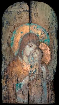 Virgin Mary and Jesus, painted on a wooden panel