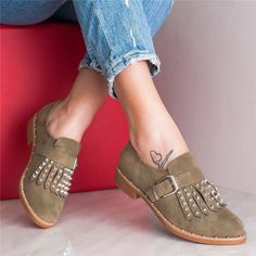 Plus Size Tassel Boho Suede Flat Heel Buckle Loafers – cuteshoeswear loafers with socks loafers style loafers for women outfit cute loafers brown loafers Brown Loafer Shoes, Loafers With Socks, Casual Loafers, Suede Flats, Loafer Flats, Loafers For Women Outfit, Boho Heels, Custom Shoes, Strap Heels