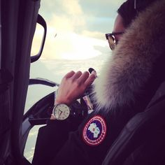 Amazing customer photo! Thank you Amy! Featuring the Black Leather Club Watch. #NewgateWatches #Newgate #Club #Watch #NewgateWatch #Watches #Iceland #YourNewgate #CanadaGoose #flight #flying #pilot #ocean #horizon #sunset #aircraft #vacation