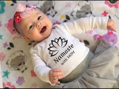 Namaste with Mom Yoga Onesie- Screen Printed Yoga Lotus Baby Gift Yogi Baby Clothes Hand Screen Printed design. These are super comfy gender neutral Organic Gerber Brand Baby Onesies made out 100% Organic cotton. * Ribbed for breathability and comfort. * expandable lap shoulder neckline to help pull Baby Yoga, Yoga Mom, Baby Gym, Baby Shirts, Baby Onesie, Onesies, Lotus Yoga, Screen Printing Shirts, Organic Baby Clothes
