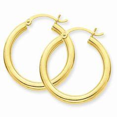 3 mm Round Hoop Earrings, 7/8 Inch Diameter https://www.goldinart.com/shop/earring/14k-earrings/3-mm-round-hoop-earrings-78-inch-diameter #14KaratYellowGold, #HoopEarrings