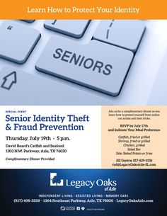 Join us for a complimentary dinner as you learn how to protect yourself from online con artists and recognize their tricks.