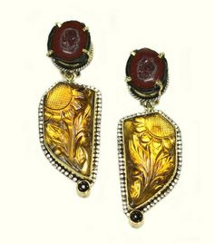 Amy Kahn Russell Summer Trunk Show  ||  Carved Whiskey Quartz Clip Earrings