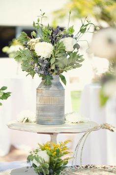 Style Me Pretty | Herbs in galvanized bucket