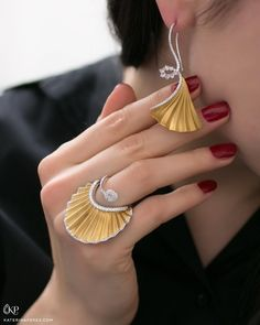 J Jewels Milano ~ Plisse earring and ring with rose cut diamonds | KATERINA PEREZ (@katerina_perez)