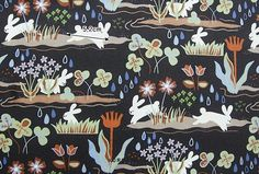 Rain rabbit fabric Rabbit pattern 44x35 100% Scandinavian Fabric, Rabbit, Pattern, Printed Cotton, Rabbits, Fabrics, Bunny, Model, Patterns