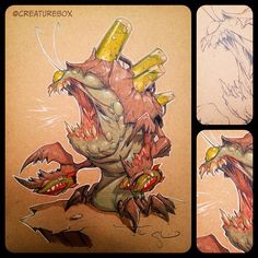CreatureBox green bottles attached to the energy pod Character Concept, Character Art, Concept Art, Caricature, Monster Characters, Monster Design, Creature Concept, Animal Sketches, Cool Sketches