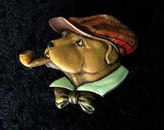 ART DECO LARGE BAKELITE DOG WITH PIPE BROOCH
