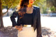 fur skirts and spikes belt