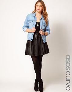ASOS CURVE Skater Skirt In Leather