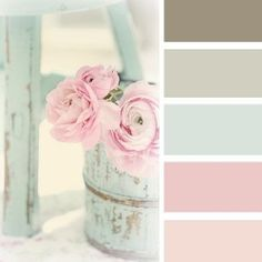 Oh these colors... sigh. An inspiration board full of pretty shabby chic ideas (image via pretty little inspirations)- craft room