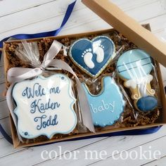 Welcome baby cookie box. www.colormecookie.com