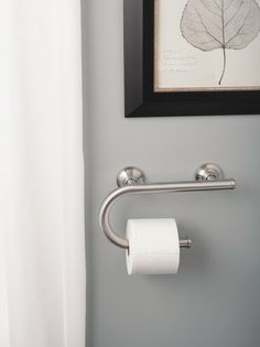 The Delta Polished Chrome Traditional Curved Assist Bar Adds A - Brushed nickel grab bars for bathrooms for bathroom decor ideas