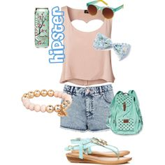 [Heart-SHaped, open-backed,sequin bow, jean shorts, sandles, pearl bracelet, Sunglasses, teal backpack, and arizona tea] Love it