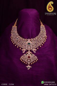 Grandeur Diamonds Necklace by SwarnSri Gold & Diamonds, Vijayawada. For any queries please WhatsApp 9393891000 or Call ☎️ 18k Gold Jewelry, Gold Jewellery Design, Bridal Jewelry, Diamond Jewellery, Beaded Jewelry, Jewelery, Dimond Necklace, Diamond Necklace Set, Diamond Choker