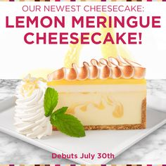 Saving 4 A Sunny Day: Price Cheesecake Today And Tomorrow Cheesecake Factory Desserts, Just Desserts, Delicious Desserts, National Cheesecake Day, Lemon Meringue Cheesecake, Ice Cream Pies, Joy Of Cooking, Cake Cookies, Cupcakes