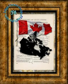 Canada Black Silhouette with Red/White Oak Leaf Flag Art - Beautifully Upcycled Vintage Dictionary Page Book Art Print by CocoPuffsArt on Etsy
