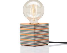 Handmade Wooden Cube Lamp, Recycled Skateboards Lamp, Upcycled Lamp