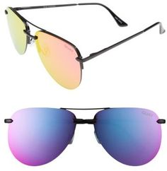 Shop Now - >  https://api.shopstyle.com/action/apiVisitRetailer?id=610734407&pid=uid6996-25233114-59 Women's Quay Australia The Playa 64Mm Aviator Sunglasses - Black/ Pink  ...