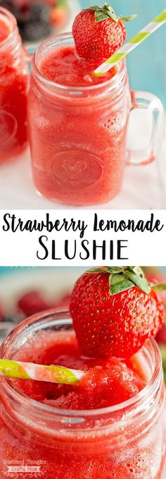 Strawberry Lemonade Slushies: Ingredients: 12 oz frozen strawberries (about 2 heaping cups). Optional: 1 to 2 tsp of sugar, it will just depend how sweet your strawberries are- give it a taste. Directions: Add lemonade to the Non Alcoholic Drinks, Fun Drinks, Healthy Drinks, Beverages, Party Drinks, Slushy Alcohol Drinks, Refreshing Drinks, Alcohol Punch, Alcholic Drinks
