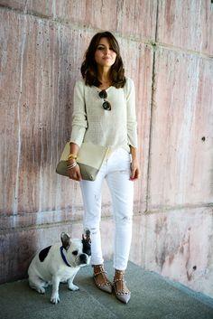 sweater: Anine Bing // jeans: Suiteblanco (s/s 14) // shoes: Valentino // bag: Purificación García (s/s 14) // sunglasses: Super // bracelets: Marc by Marc Jacobs + Lowlita & You // watch: Sheen de Casio