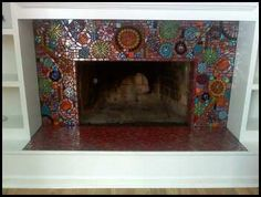 Glass Mosaic Fireplace by leannchristian, via Flickr