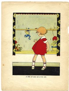 Elf in the Rain - Girl & Elf - 1924 Vintage Children's Book Illustration