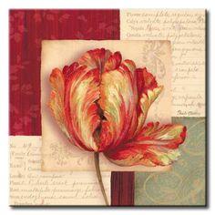GlA_417_Bella Donna I / Cuadro Flores, Flor Roja sobre fondo Vintage