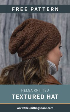 Helga Knitted Textured Hat Create this hip slouchy knitted beanie in time for the winter season. This is a handmade present a teenager will surely . Beanie Knitting Patterns Free, Beanie Pattern Free, Easy Knitting, Knitting Stitches, All Free Knitting, Beginner Knitting Patterns, Knitting Machine, Knitting Charts, Knit Patterns